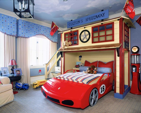 kid bedroom with race car