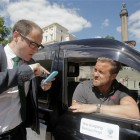 The black cab only accepting payment by mobile cellphone